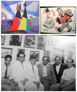 Fig. 6: L: Gouache by Seif Wanly (1950); R: Cartoon by Edham Wanly (1945); Bottom: Atelier, Seif and Edham Wanly, colleagues (n.d.)